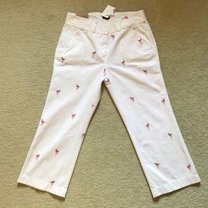 NWT J.Crew Flamingo Cropped Pants Size 6R
